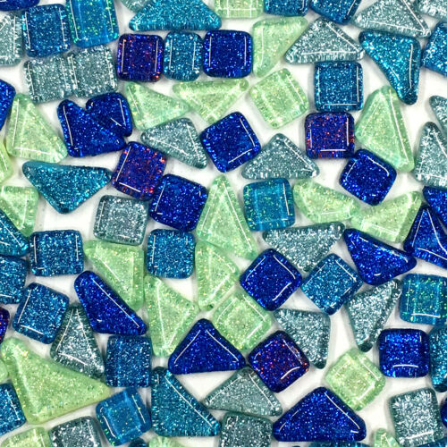120g Mosaic Glass Pieces Square Triangle Tiles Glitter DIY Creative Craft