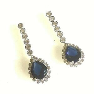 White-Gold-Blue-Sapphire-Diamante-Drop-Dangle-Earrings-18k-GF-Plum-UK-BOXED