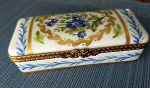 Flowered Rectangle Napoleonic Decor Main Limoges Trinket Jewelry Pill Box France