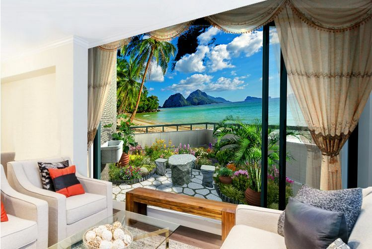 3D Clear Seaside Cliff Paper Wall Print Wall Decal Wall Deco Indoor Wall Murals