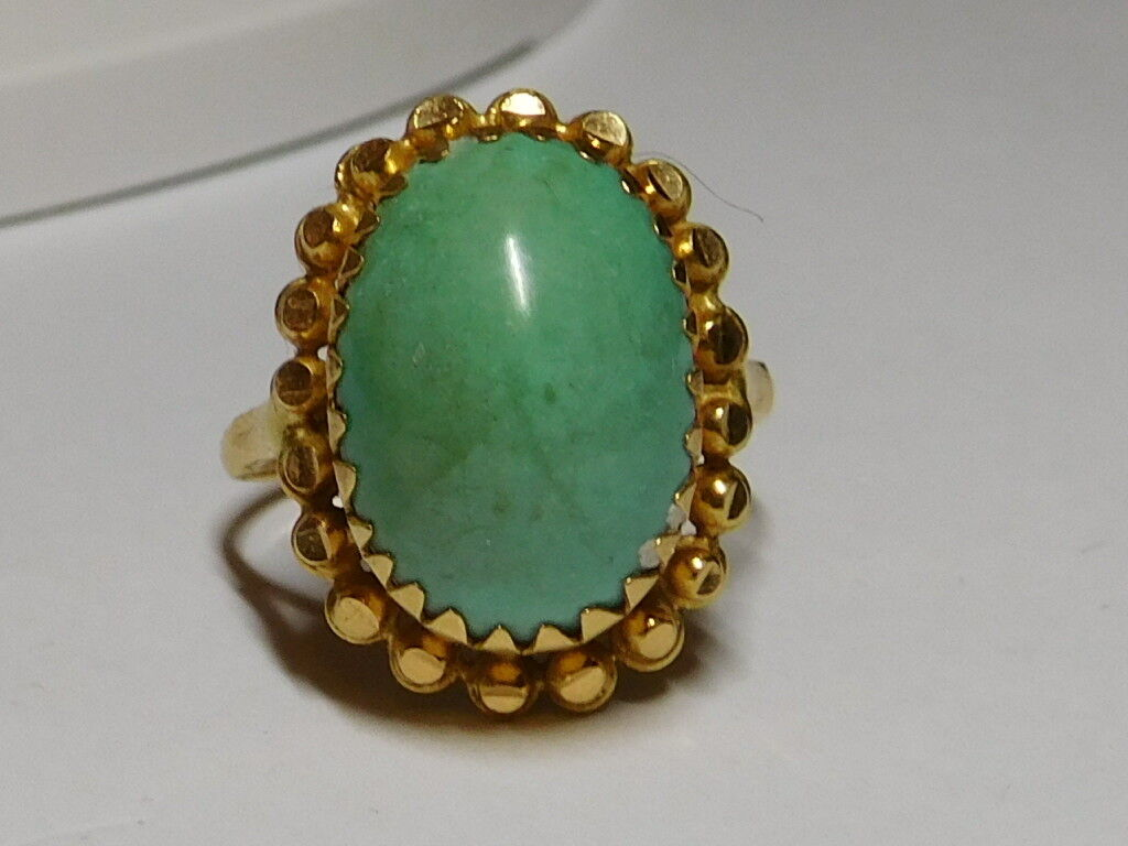 20 kt Yellow gold Natural Persian Turquoise Gemstone Ring