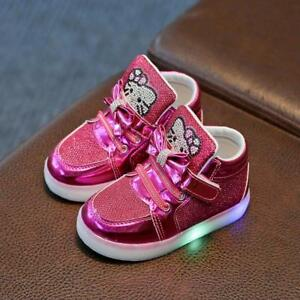 dded60fed Girls Led Shoes Children Shoes New Spring Hello Kitty Rhinestone ...