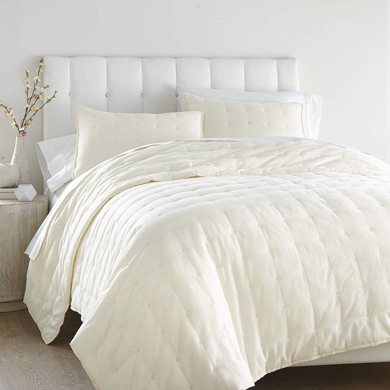 Elegant 100% Cotton Cover grigio Off bianca Sand Tufte Quilt King Queen 3 pcs set