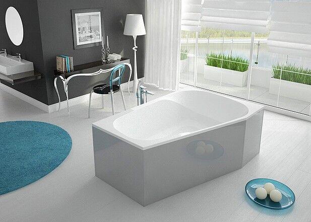 Hoesch SPECTRA Acryl Trapez Badewanne 180x120 cm links rechts weiß + - Träger