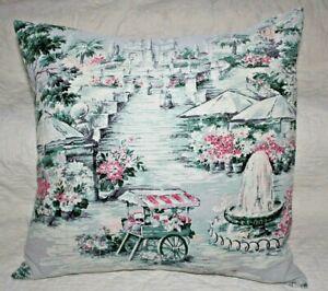 Vintage-Victorian-Park-Flowers-Cart-Cotton-Barkcloth-Large-Throw-Pillow-Sham