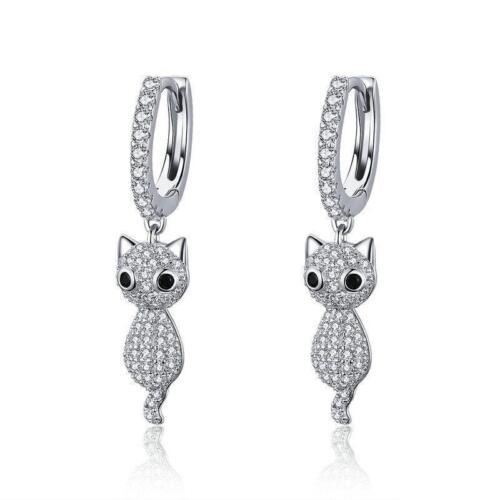 Dangling Cute Crystal Cats 925 Sterling Silver Drop Earrings B01