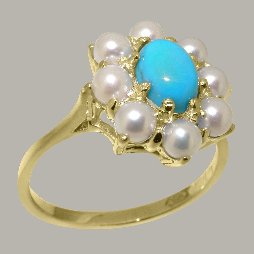 Solid 9ct Yellow gold Natural Turquoise & Full Pearl Womens Cluster Ring
