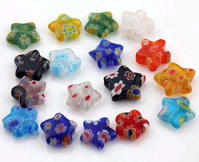Wholesale 20/50Pcs Printing Mixed Shape Millefiori Glass Craft Loose Charm Beads