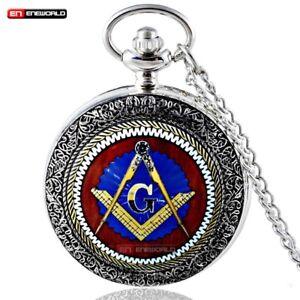 Vintage-Steampunk-Antique-Masonic-Badge-Pocket-Watch-Quartz-Pendant-Necklace-NEW
