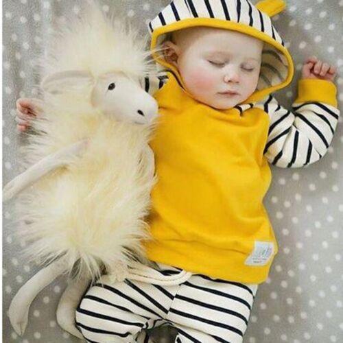 Baby Boy Girils Outfits Clothes Kids Hoodie Sweatshirt+Striped Pants 2PCS Sets