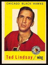 1959 60 TOPPS HOCKEY #6 TED LINDSAY EX-NM CHICAGO BLACK HAWKS DETROIT RED WINGS