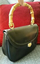 GIVENCHY PARIS VINTAGE BLACK LEATHER BAMBOO HANDLE RARE HANDBAG PURSE - FAB GIFT