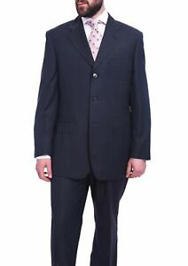 Mens-44R-Men-039-s-Classic-Fit-Blue-3-Button-Pleated-Wool-Suit-Made-In-Italy