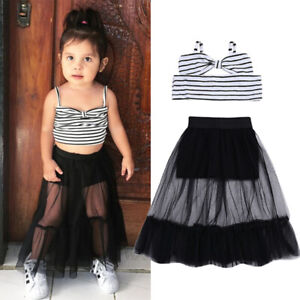 01ebb0618b Toddler Baby Girls Stripes Crop Top Shorts Skirt Outfits Clothes ...