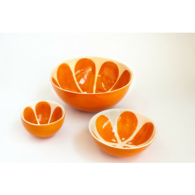 Bowl Set of Three Orange Ceramic Bowls Handmade Pottery Unique Soup Salad Tea
