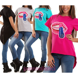 Maglia-donna-maglietta-t-shirts-bocca-paillettes-coda-punta-zip-nuova-CJ-2092