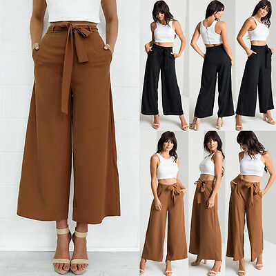 Uk New Womens Casual Or Business High Waist Wide Leg Pants Las Long Trousers