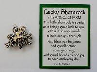 S Lucky Shamrock Angel Pocket Token Charm Locket Good Luck Blessings Pendant
