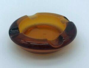 Vintage Retro Small Amber Glass Ashtray 3 inch AS7