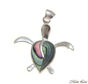 925-Sterling-Silver-Hawaiian-Honu-Sea-Turtle-Abalone-Paua-Shell-Pendant-S-M-L