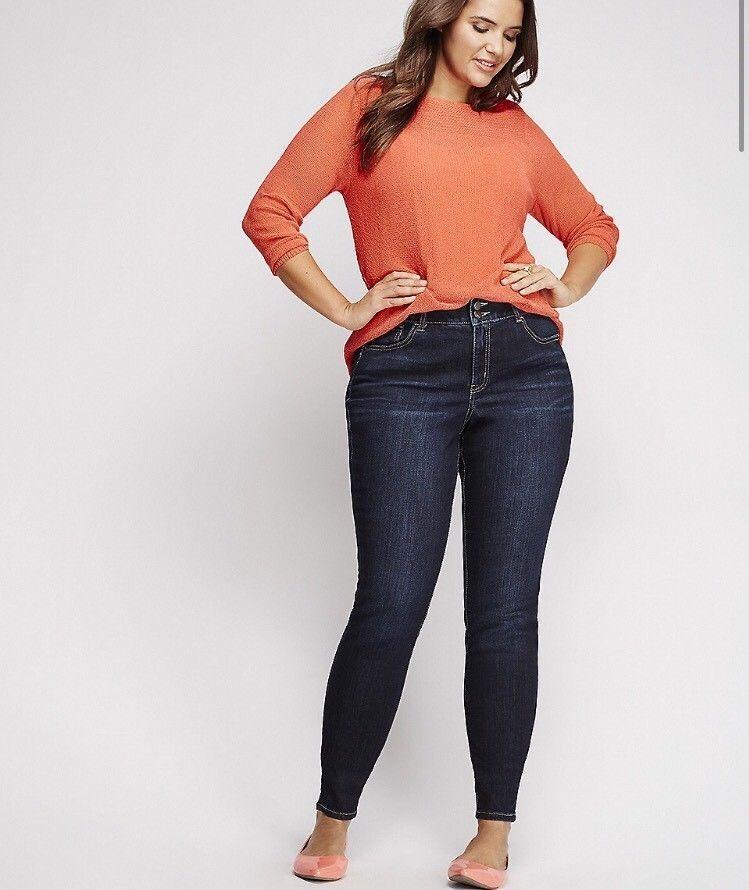 New LANE BRYANT  80 T3 Dark Wash Skinny Slimming Tummy Toning Jeans 20W LONG 20L