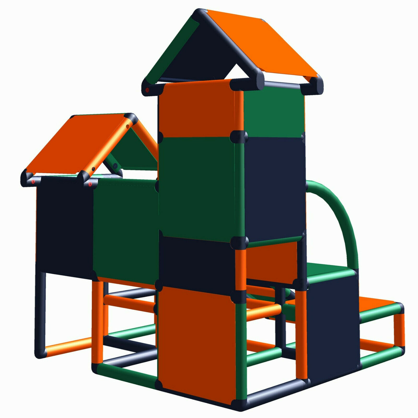 Move and stic Luise Kletterturm Orange-titangrau-grün Spielturm Baukasten