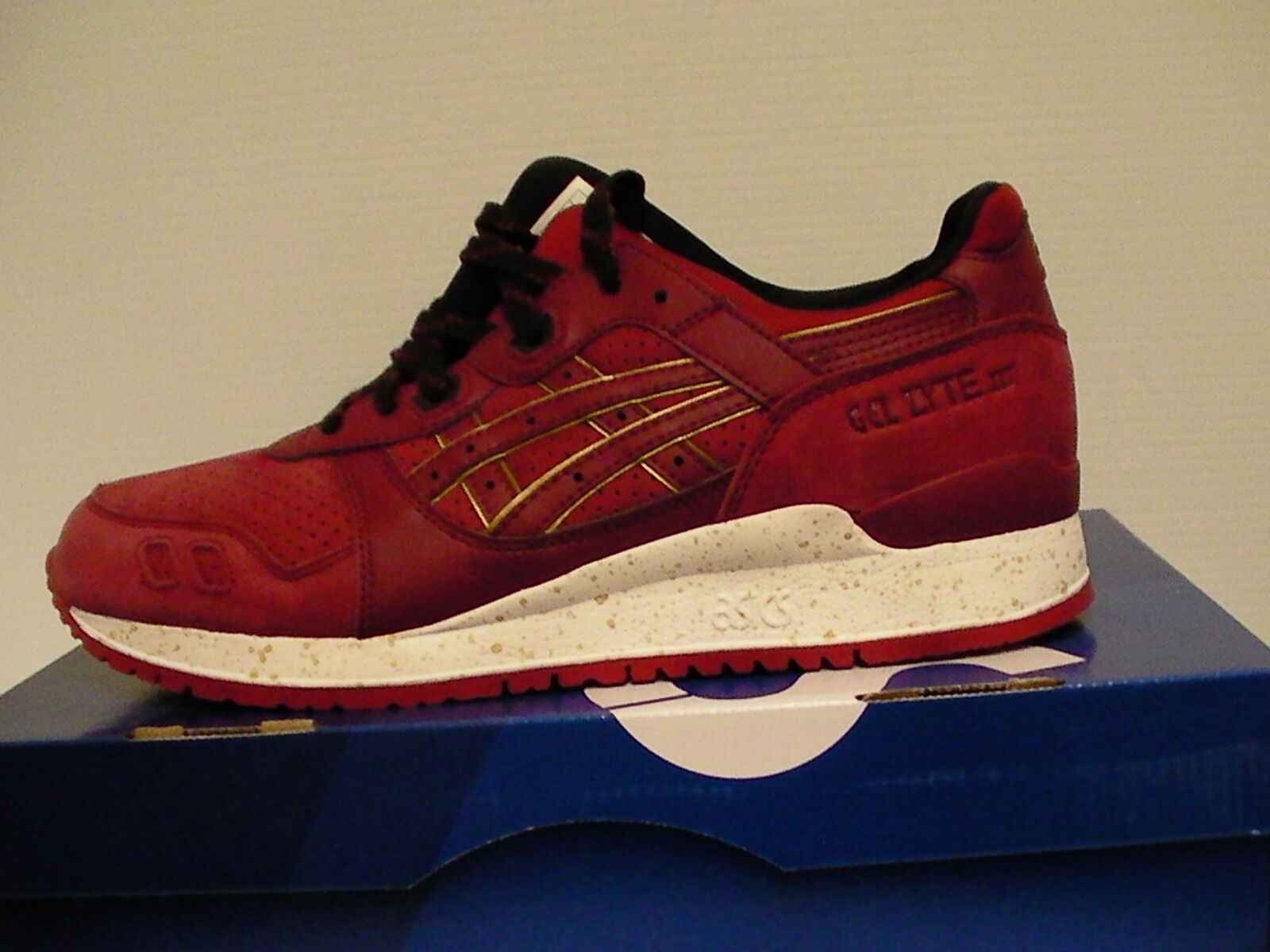 Asics running shoes gel-lyte iii size 8 us men burgundy/burgundy new with box