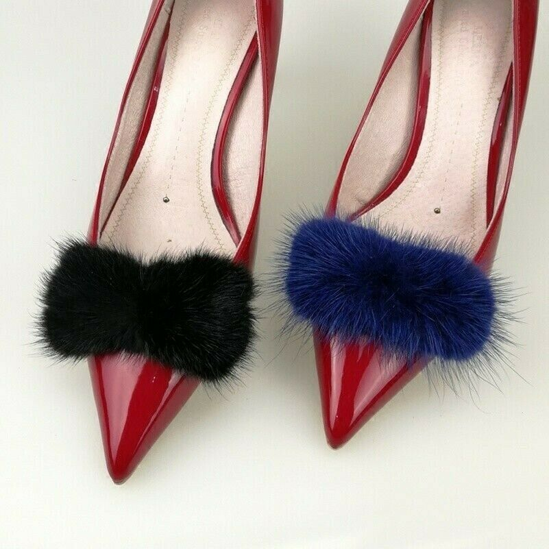 1 Pair Mink Fur Pompom Shoe Clips Fluffy Ornament Heels Boots Charms Chic Crafts