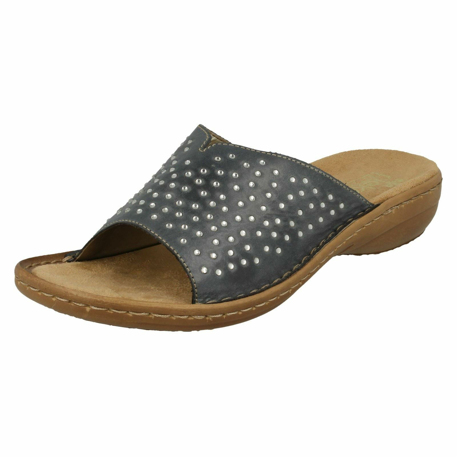 Último gran descuento Ladies Blue Slip On Leather Reiker Mules 608P9