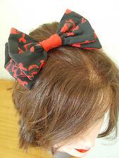 Teschio Cross Ossa BIG Bow nero bianco rossa capelli clip emo scene Goth Barrette