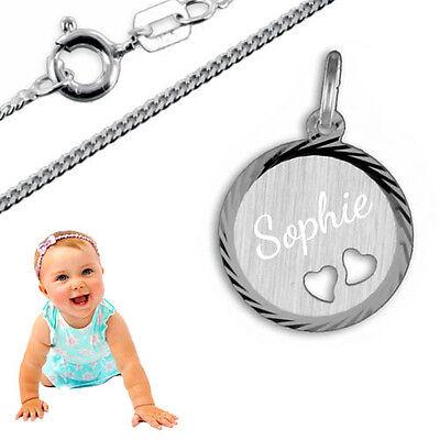 Taufkette,Kinderkette,Namenskette,ANHÄNGER Babyfüße Inkl.GRAVUR SILBER925