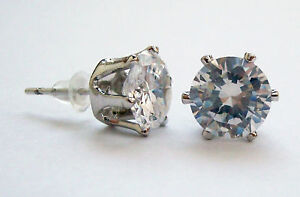 DB80 6 CT 8.0mm CZ SIMULATED D ROUND STUD EARRING