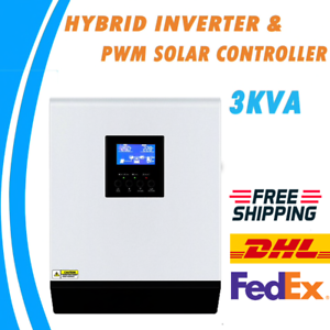 Details about NEW 3KVA Hybrid Solar Inverter 24V 220V 50A PWM Solar  Controller Pure Sine Wave