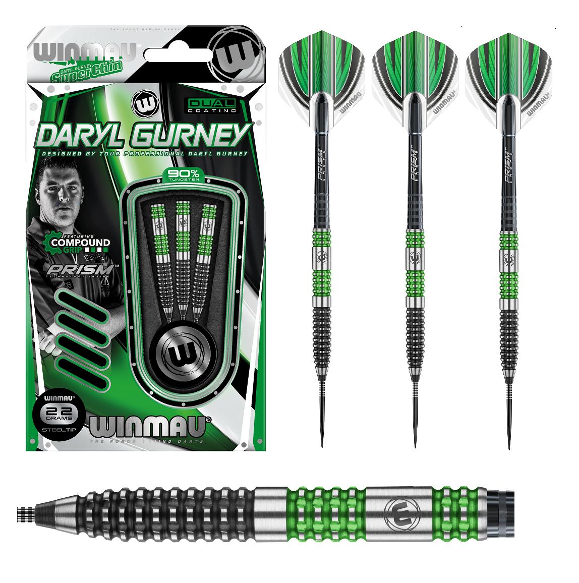 Winmau Dart - Daryl Gurney Special Edition 90% Tungsten 22g 24g (Steel Dart) NEU