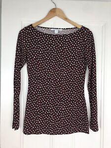 DVF-Diane-von-Furstenberg-Burgundy-Silk-Printed-Sarita-Blouse-Shirt-Top-S