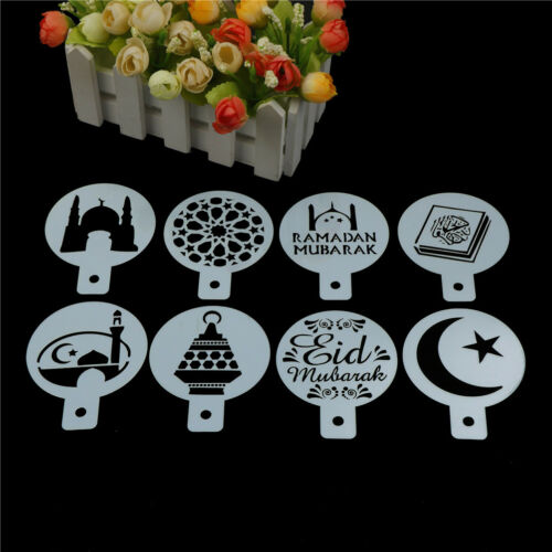 8pcs//set Mosque Eid Mubarak Ramadan Design Coffee Stencils Cake Templates SL