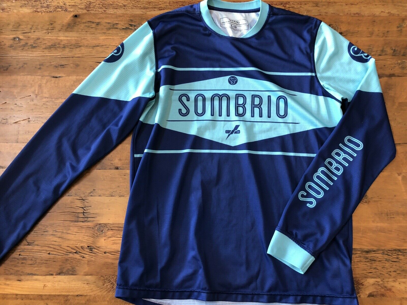Sombrio Duster Cycling Bike Jersey Mens Large Long Sleeve bluee  on bluee Athletic  new sadie