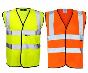 New Hi-Viz High Visibility Hook Loop Yellow WORKWEVER Orange Vest Top Size S-4XL
