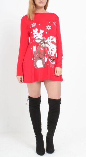Womens Ladies Xmas Santa Reindeer Novelty Print Christmas Swing Dress UK 8-26