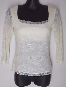 SMALL-Victoria-039-s-Secret-Moda-International-Lace-ivory-White-Blouse-Bra-Top