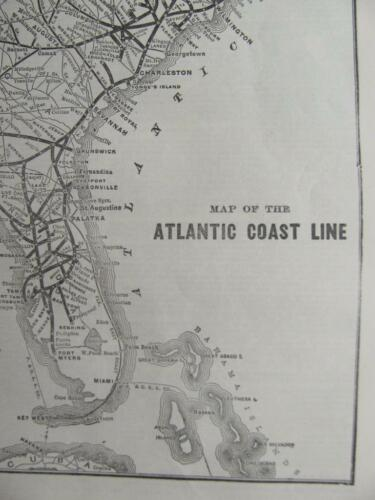 100 YEAR OLD 1916 ATLANTIC COAST LINE RAILROAD SYSTEM MAP ACL RR HISTORY