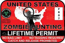 United States Zombie Hunting Permit Vinyl Sticker Window Bumper Decal Truck Yeti