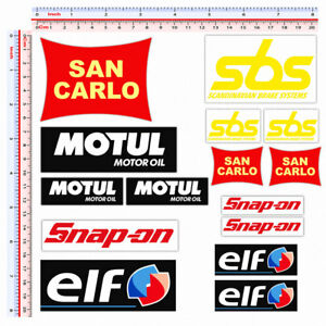 San carlo snap on sbs motul elf adesivi sponsor sticker replica print pvc 15 pz.