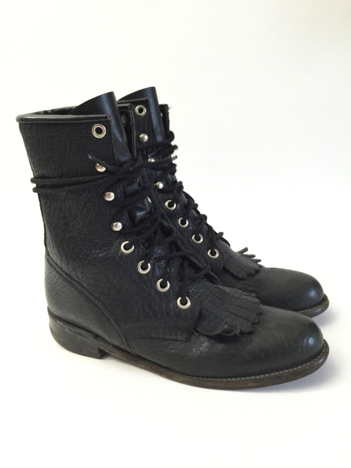 JUSTIN (4.5) BLACK Cowboy Western Boots Women's Sz 4.5 B * USA