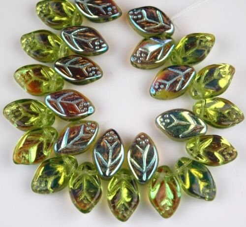 25 PCS Czech Leaf Olive Green AB Pressed Loose Glass Beads Jewelry Craft 7x12mm