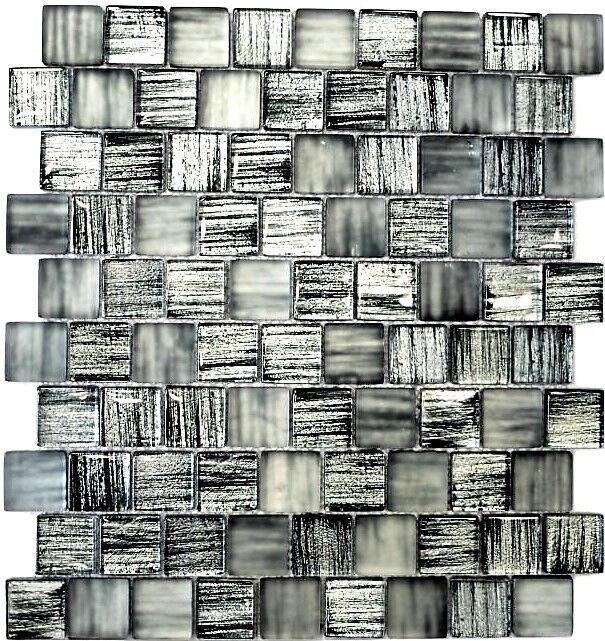 Glasmosaik Struktur schwarz mix klar gefrostet Küche Art  78-CF81   10 Matten