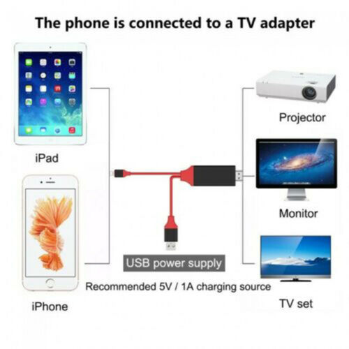 2M Lightning to HDMI Cable HD TV Adapter Gaming Lead For ios iPhone 11 iPad 8 7