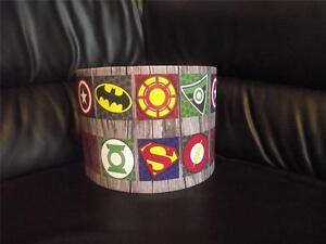 Pantalla-De-Techo-Tambor-Superheroe-Logo-10-034-Lightshade-Capitan-America-Batman-Multi