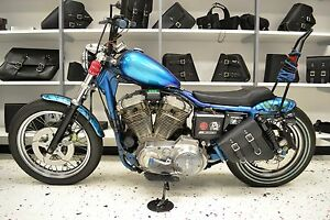 Image Is Loading Harley Sportster Left Side Leather Solo Bag Saddlebag
