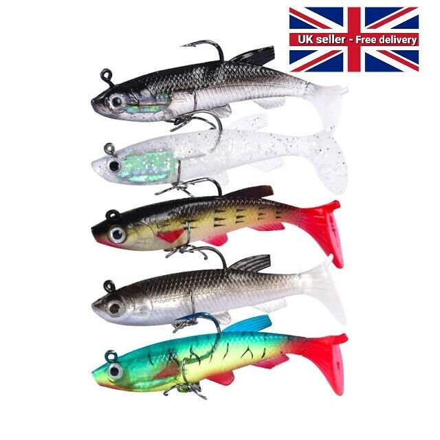 Jig with Feathers Perch Trout Rubber Fish